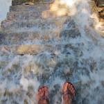 Treppe im Wasserfall
